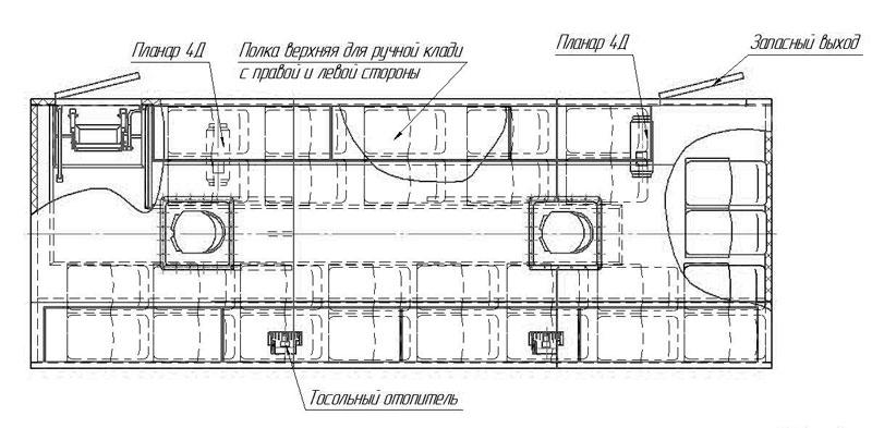 Планировка вахтового автобуса Камаз 43118-3027-50 – 28 мест (с багажными полками)