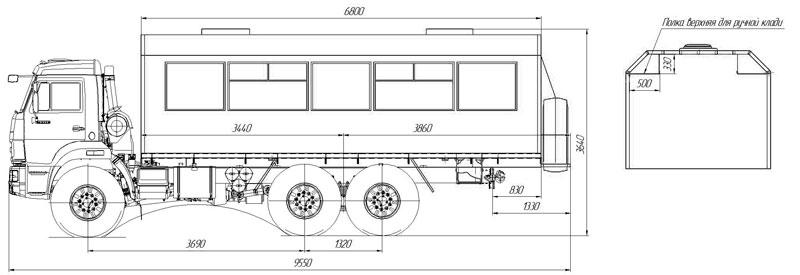 Габаритный чертеж вахтового автобуса на шасси Камаз 43118-3027-50 – 28 мест (с багажными полками)