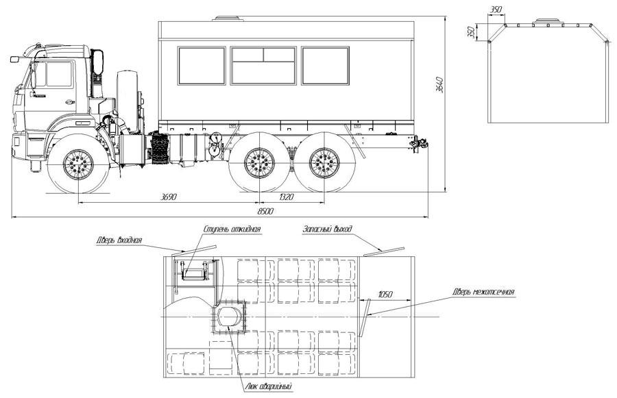 Габаритный чертеж вахтового автобуса Камаз 43118-3011-50 (001) – 12 мест (с грузовым отсеком)