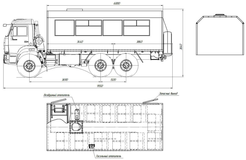 Габаритный чертеж вахтового автобуса Камаз 43118-3011-50 (001) – 24 места