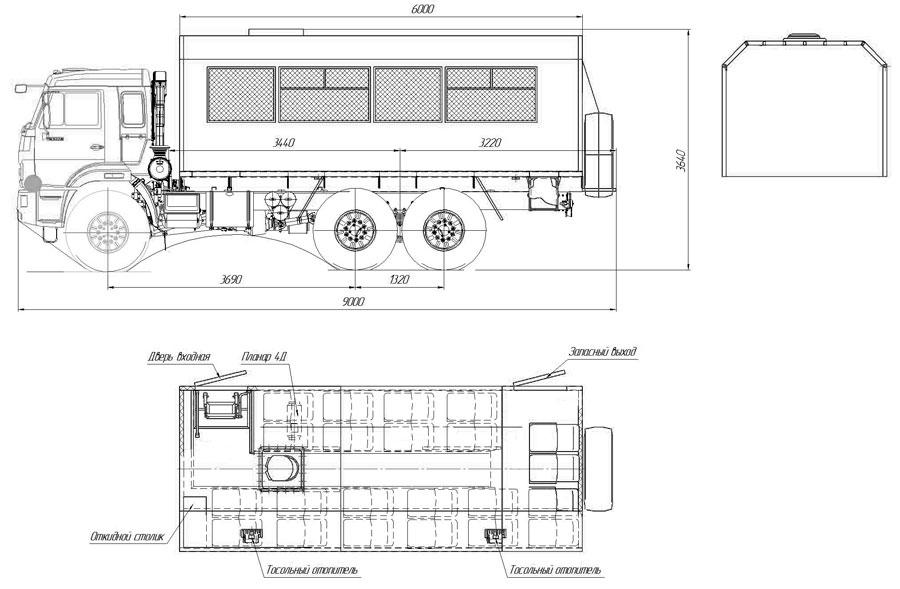 Габаритный чертеж вахтового автобуса Камаз 43118-3027-50 (004) – 22 места
