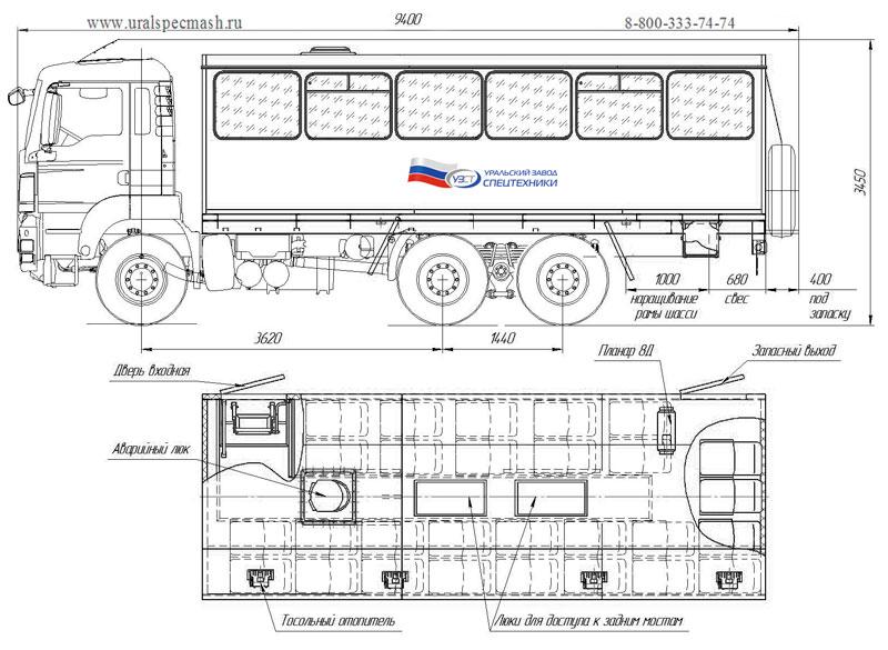 Габаритный чертеж вахтового автобуса MAN TGS 40.430 – 28 мест