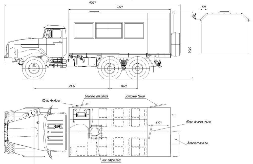 Габаритный чертеж вахтового автобуса Урал 4320-1112-61Е5