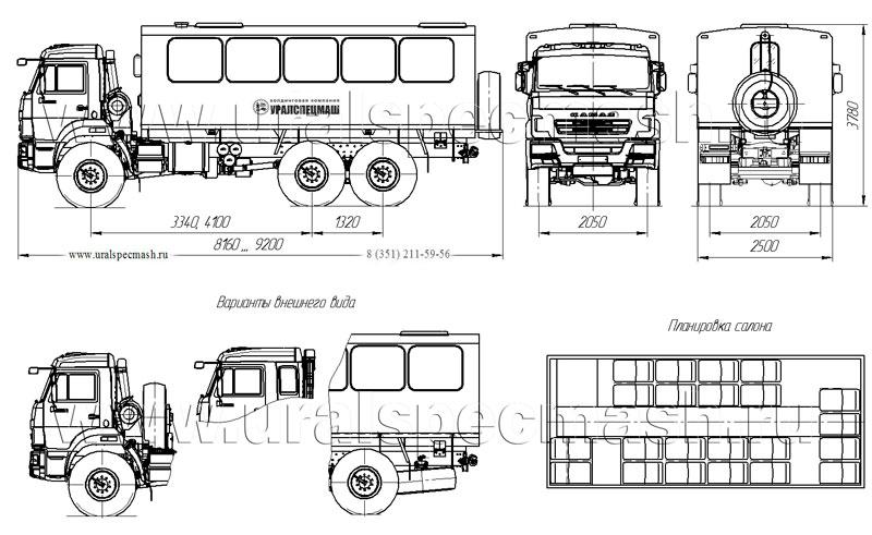 Габаритный чертеж вахтового автобуса Камаз 5350 на 22 места