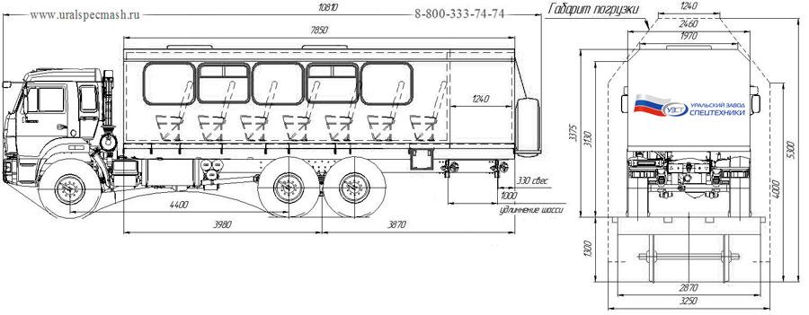 Габаритный чертеж вахтового автобуса Камаз 43118-3078-RF – 26 мест