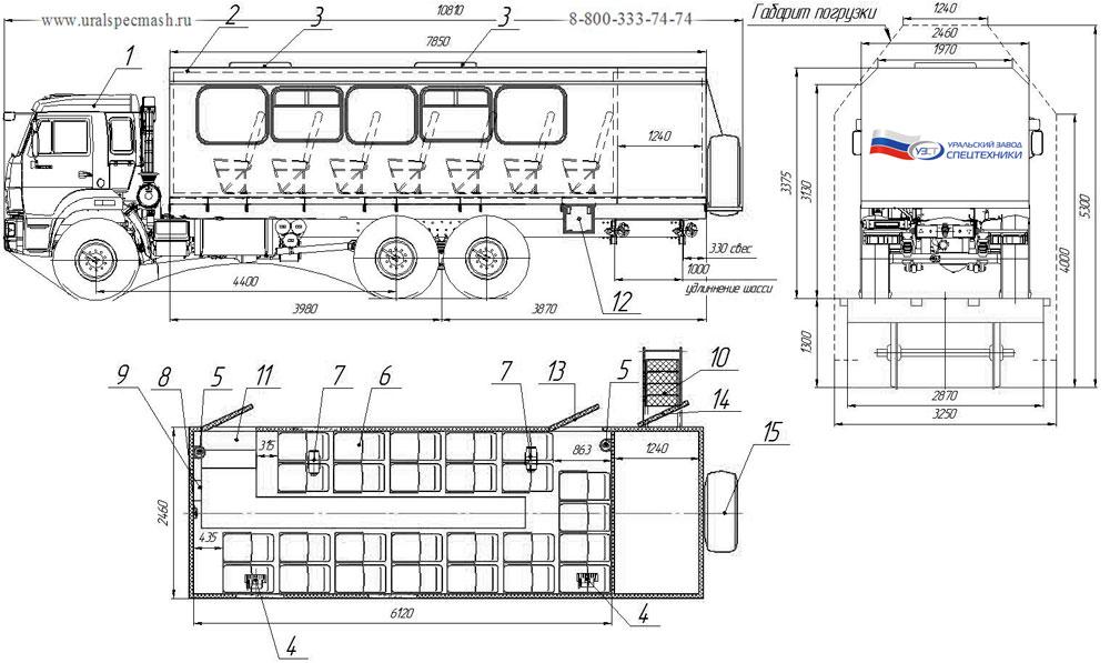 Планировка вахтового автобуса ГПА Камаз 43118-3078-RF – 26 мест