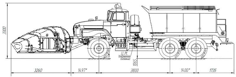 Габаритный чертеж комбинированной дорожной машины Урал 55571-1121-72Е5