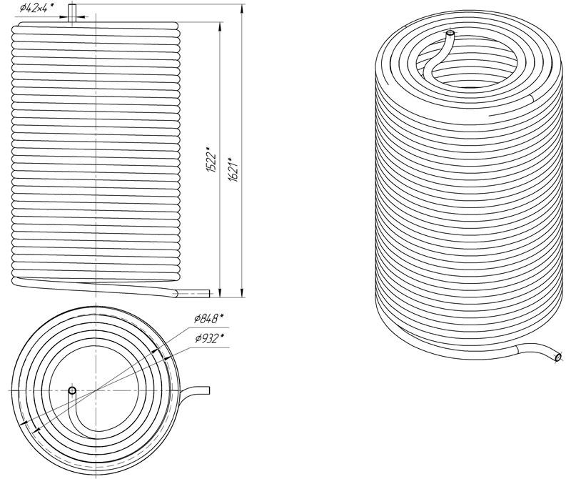 Габаритный чертеж наружного змеевика АДПМ