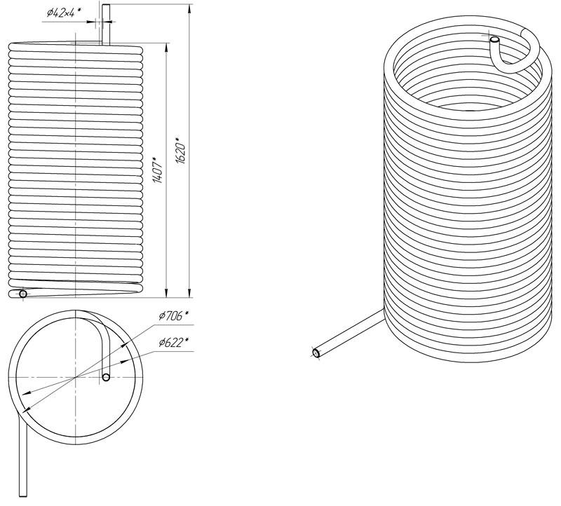 Габаритный чертеж внутреннего змеевика для АДПМ