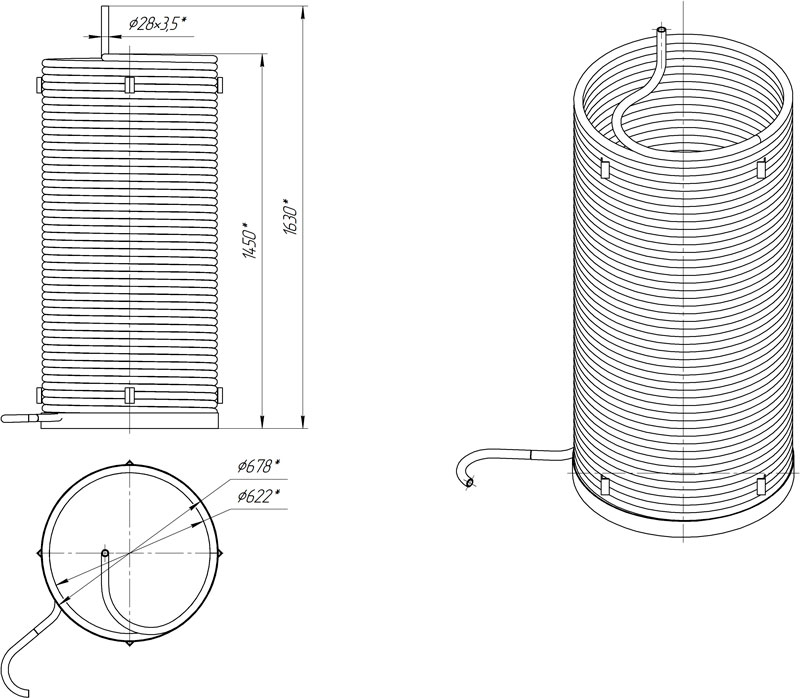 Габаритный чертеж внутреннего змеевика для ППУА