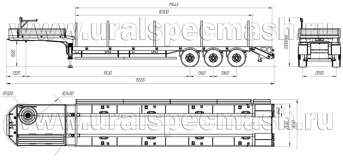 Габаритный чертеж полуприцепа-тяжеловоза УЗСТ-9174 В1-36-ПА-11-СУО